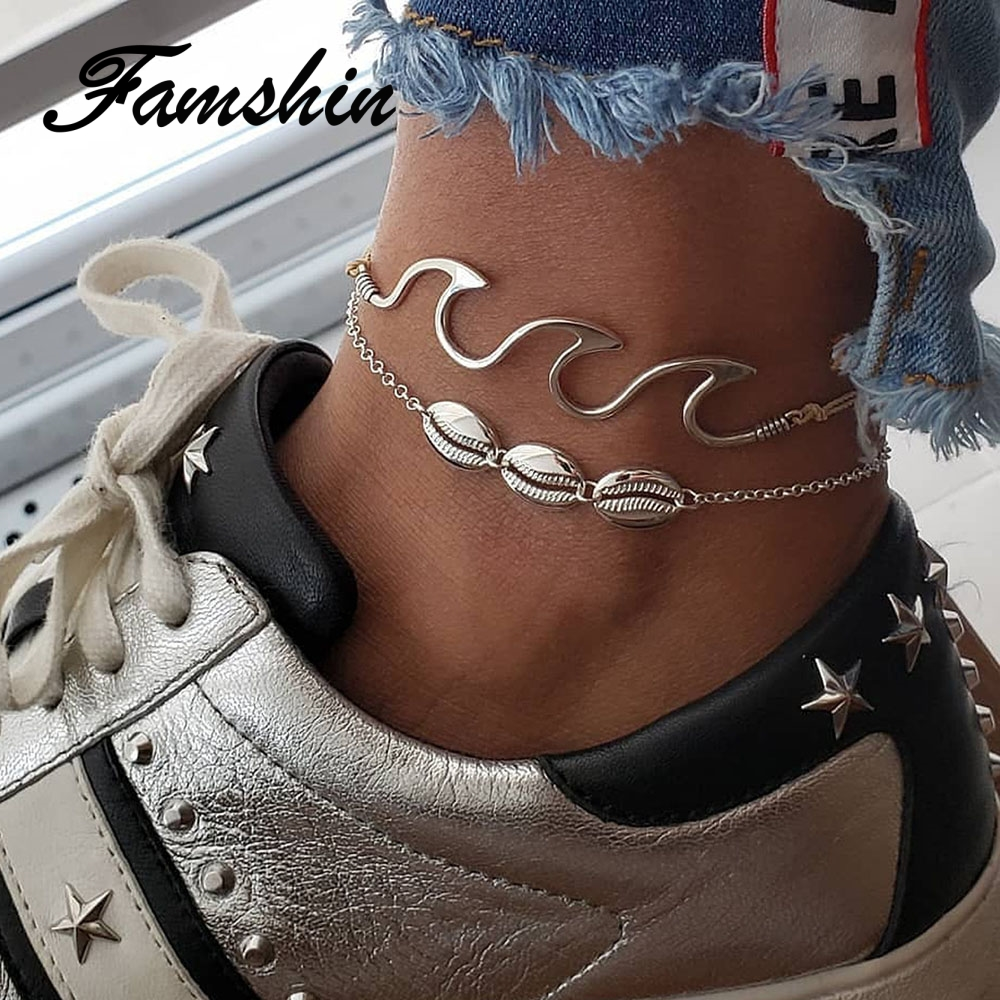 FAMSHIN Boho Beach Wave Shell Anklets Set For Women 2018 Shell Anklet Bracelets On The Leg Bohemian Foot Ocean Jewelry Gift