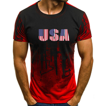 Cool USA Print Short Sleeves T-Shirt Camouflage Tops S-4XL