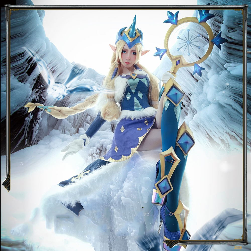 Ice and Snow Soraka LOL Cosplay lol Winter Wonder Soraka cosplay costume winter miracle Christmas costume gift Full Set-in Game Costumes from Novelty & Special Use    1