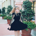 Princess sweet lolita Velvet dress BOBON21  bandage Behind backside  formal attire  Sexy  black  A-line Sweet girl D1423