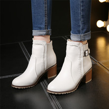 Plus Size 34-43 Autumn winter Snow boots Square high heels Shoes Casual Martin boots women Fashion zipper leather Ankle Boots