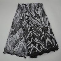 2018 Fashion Design Black And White Sequined French Lace Fabric With Stones African Lace Fabric Net Lace For Material Dress