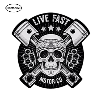 HotMeiNi Waterproof Car Styling Vinyl 3D Stickers Skull Live Fast Auto Moto Car Decal Racing Motorcycle Tuning 13*13cm car stickers light bulb skull head motorcycle accessories bumper rear windshield sunscreen waterproof decal vinyl 13cm 8cm
