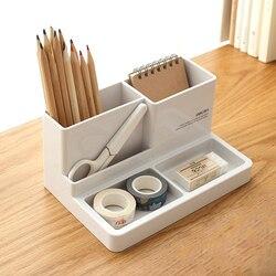 2018 plástico de alta calidad multifuncional escritorio papelería organizador caja de almacenamiento lápiz caja joyería maquillaje organizador de la Caja