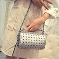 20x13CM 2016 New Fashion Trend Cotyledon Shoulder Bag Cute Little Rivets Chain Small Bag A2704
