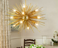 Creative personality candle chandelier golden modern iron lamp hall light simple suction hanging dual use
