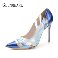 Women Pumps High Heels Shoes Pointed Toe PVC Transparent Royal Blue Dress Shoes Woman Spring Autumn Party Shoes Ladies Plus Size