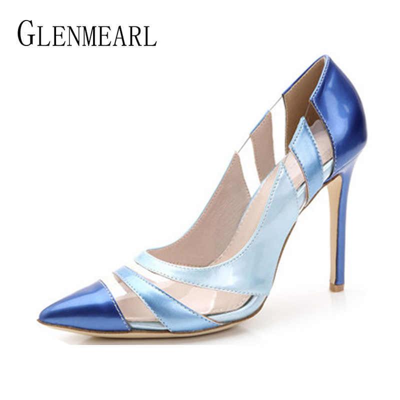 Women Pumps High Heels Shoes Pointed Toe PVC Transparent Royal Blue Dress Shoes  Woman Spring Autumn 3ef561c56fa3