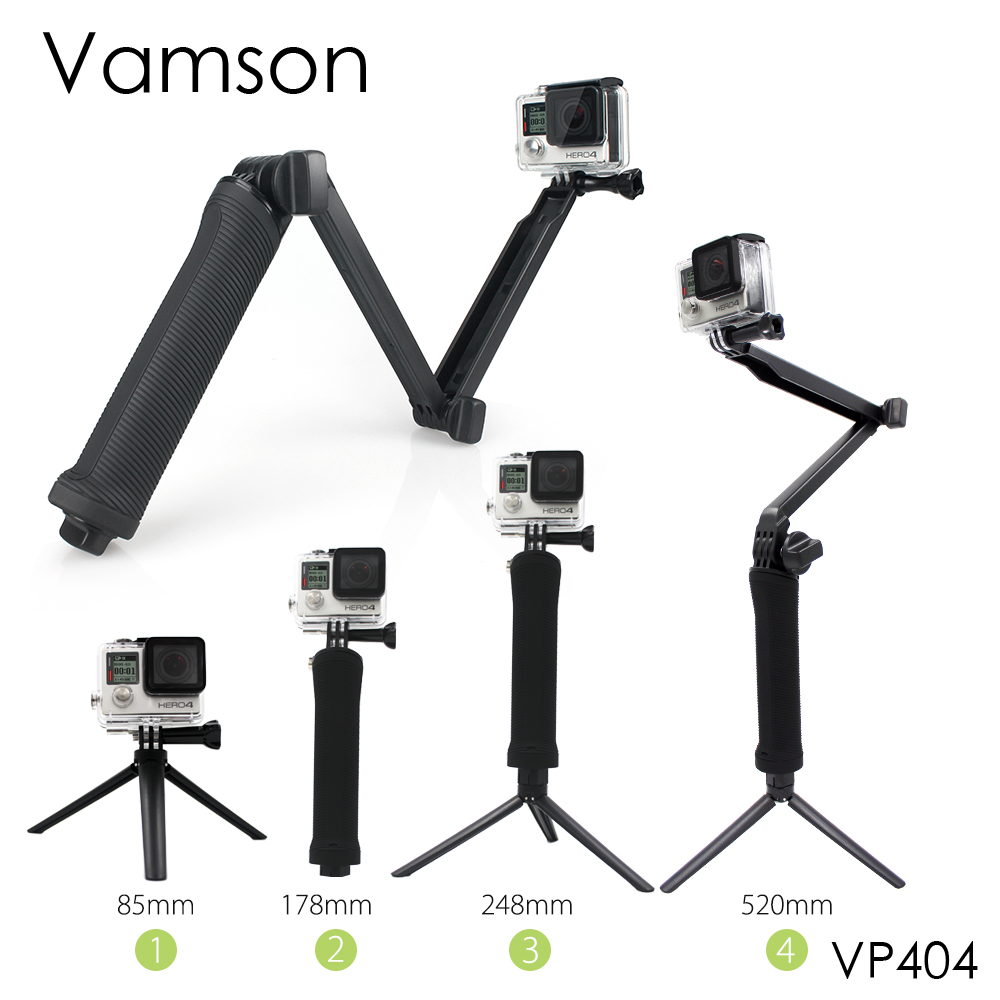 Vamson for Gopro Accessories Tripod 3 Way Monopod Mount Extension Arm Tripod for Gopro Hero 6 5 4 3+ for xiaomi yi SJ4000 VP404