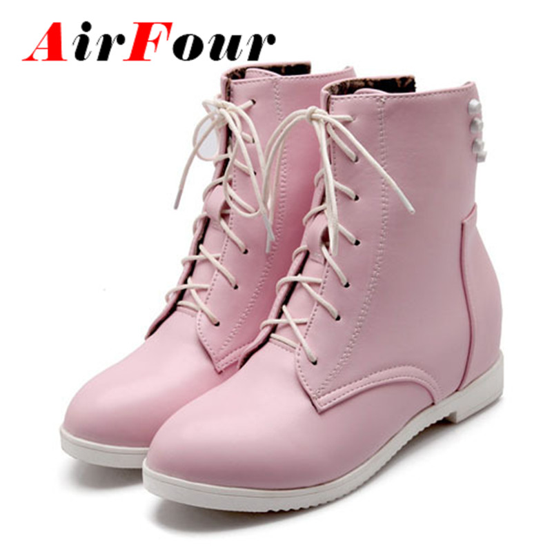 ФОТО Airfour Black Pin big Size 34-43 rivets Fashion Women Boots Height Increasing Round Toe Platform boots Casual Martin Boots Shoes