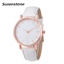 Susenstone 2017 women watches geneva brand Fashion dress ladies Watches Leather women Analog Quartz Wrist Watch relojes mujer