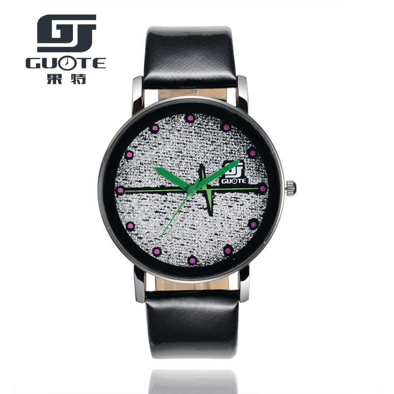 New Fashion GUOTE Brand Pulse Dial Green Needles Casual Quartz Watch Women Leather Strap Dress Watches Relogio Feminino Clock комплект боди 5 шт детский hudson baby 50883 f розовый р 61 67
