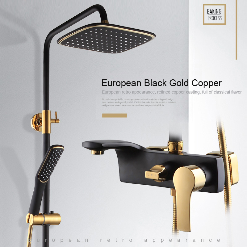 BAKALA High Quality Solid Brass Luxury Rainfall Black Paint Shower Bath Set Faucets Wall Mounted Shower Mixer Faucets  Br004