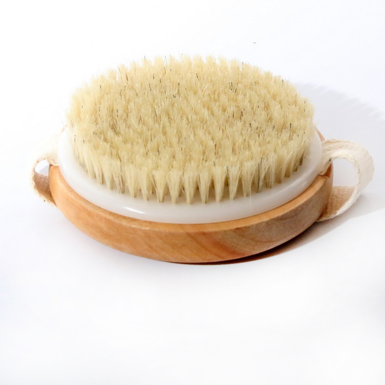 1PC New Arrival font b Bath b font Shower Bristle Brushes with Band Wooden Shower Body
