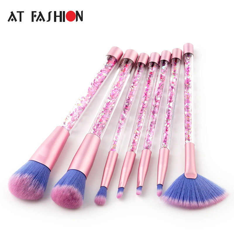 New 7pcs Makeup Brushes Bling Bling Glitter Handle Mermaid Makeup Brush Set Make Up Tool Kit Cosmetics pinceis de maquiagem aquarium liquid glitter brush set mermaid makeup brushes bling bling glitter handle make up brush kit pincel sereia maquiagem
