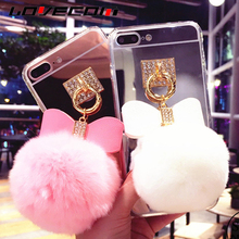 LOVECOM For iPhone4 5S SE 6 6S Plus 7 7 Plus Luxury DIY Rabbit Fur Ball Bowknot Crystal Buckle Makeup Mirror Soft TPU Phone Case