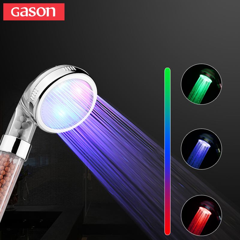 GASON Temperature Control Color Hand Shower Head High Pressure Section Filter LED Negative Ion Spa Bathroom Shower Head GN02 07