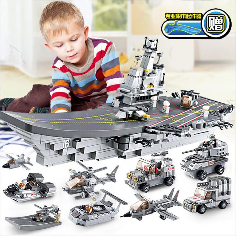 Military 9 IN 1 Aircraft Carriers Sea Air And Land Military Corps Legoings Model Building Block