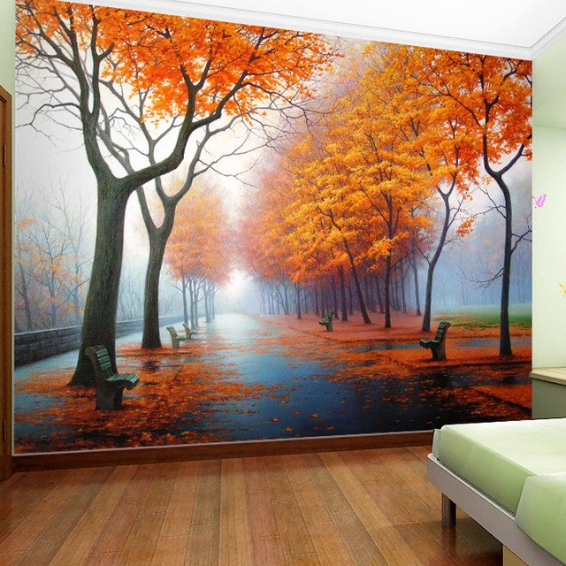 Aliexpress.com : Buy Customized Photo Wallpaper 3D Autumn Maple Leaf Natural Scene Wall Paper ...