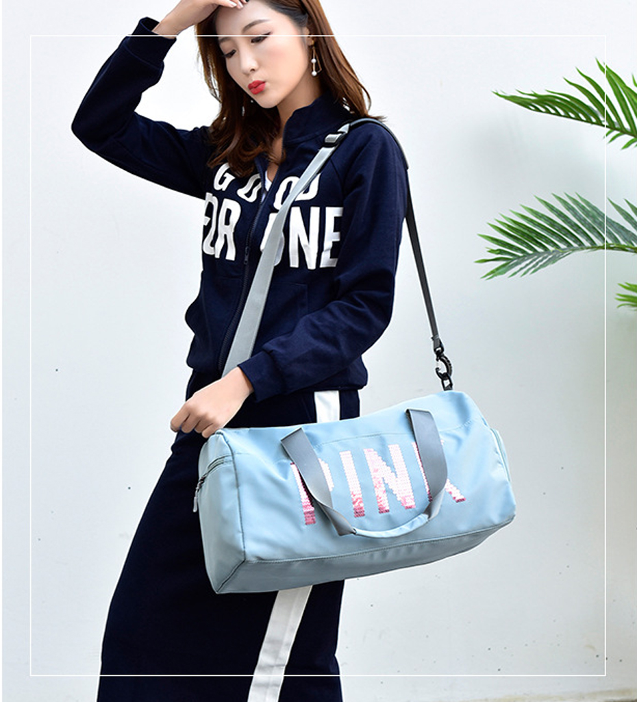 Outdoor Waterproof Nylon Sports Gym Bags Men Women Training Fitness Travel Handbag Yoga Mat Sport Bag with shoes Compartment0109