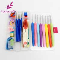 Lucia ofícios 1 conjunto ganchos de crochê agulhas pontos tricô artesanato fio ferramentas costura conjuntos agulhas de tricô com caso j0102