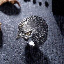 лучшая цена GOMAYA 925 Pure Silver Exquisite Owl Thai  Rings Carved Animal Personality Men Ring Jewelry Vintage Mens