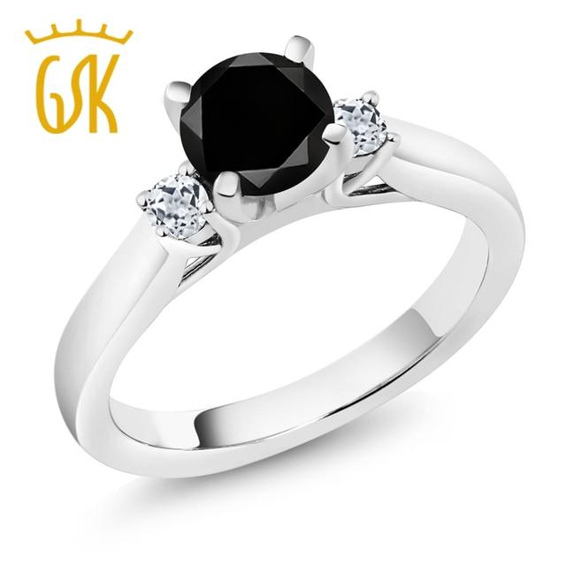 Diamond White Usa >> Amazing Usa 1 33 Ct Round Black Diamond White Topaz 925 Sterling