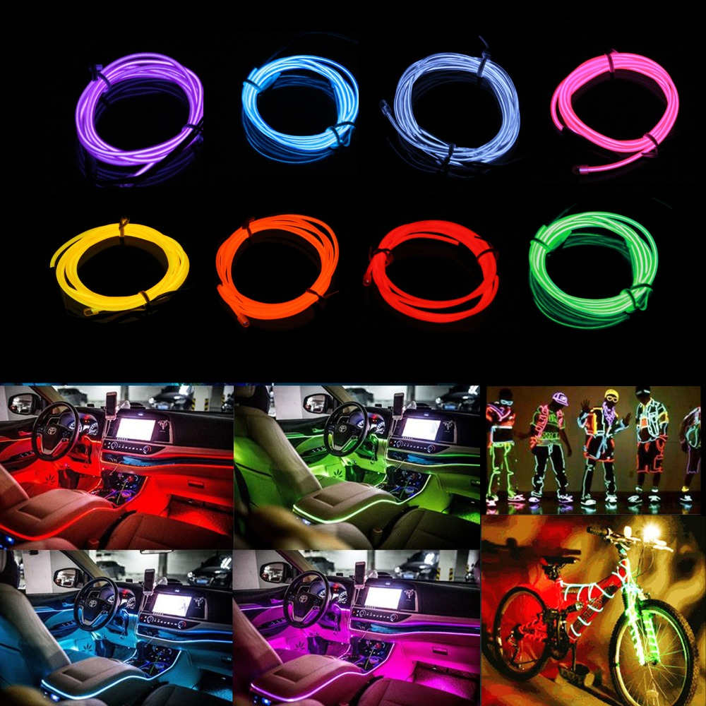 1M 3M 5M Flexible Neon Light Glow EL Wire String Strip Rope Tube Decor Car Dance Party Light String + Controller - 8 colors