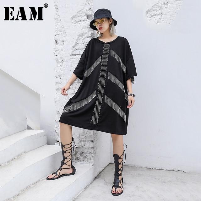 [EAM] 2019 New Spring Summer Round Neck Three-quarter Sleeve Black Tassels Split Joint Big Size Dress Women Fashion Tide JU636