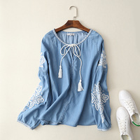 Momoluna 2017 Woman Vintage Embroidery Denim Lace Up Blouse Shirt Bluzka Koszula Damska Tunic Chemise Tunique