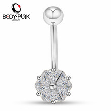Body Punk High Quality Wholesale 316L Surgical Steel Belly Piercing14G  AAA CZ Curved Barbell Navel Ring Piercing Nombril цена и фото