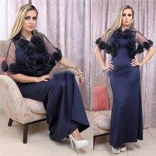 2017 arabisch Navy Blau Abendkleid Short Bolero Mit Blume Mermaid Formales Kleid Plus Größe Dubai Kaftan Fancy Frauen Party kleider