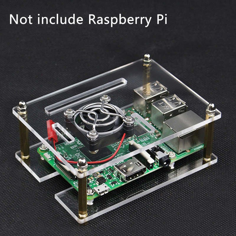 For Raspberry Pi 4 Acrylic Case Transparent Box Shell Enclosure With Cooling Fan Metal Cover For Raspberry Pi 3 Model B 3B Plus