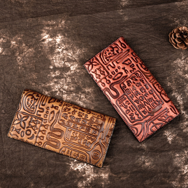 Genuine Leather Women Long Wallet Card Holder Vintage Style Embossed Female Money Coin Pocket Bifold Purse Clutch Handy Bags