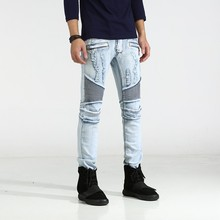 2017ss New Men's Jeans Spring and Autumn Locomotive Trend Light Blue Brushed Hole High Street Stretch Jeans