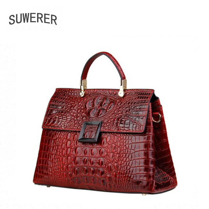 SUWERER  2019 new womens leather shoulder messenger bag high leather luxury crocodile pattern handbag designer bagSUWERER  2019 new womens leather shoulder messenger bag high leather luxury crocodile pattern handbag designer bag