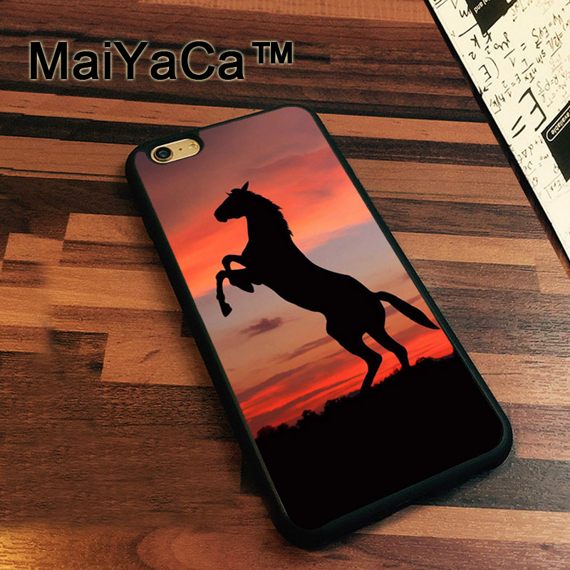 MaiYaCa Black Horse Animal Sunset Patterned Soft TPU Case for iphone 7 Soft Rubber Phone Case For iPhone 7 Bags Fundas Cover