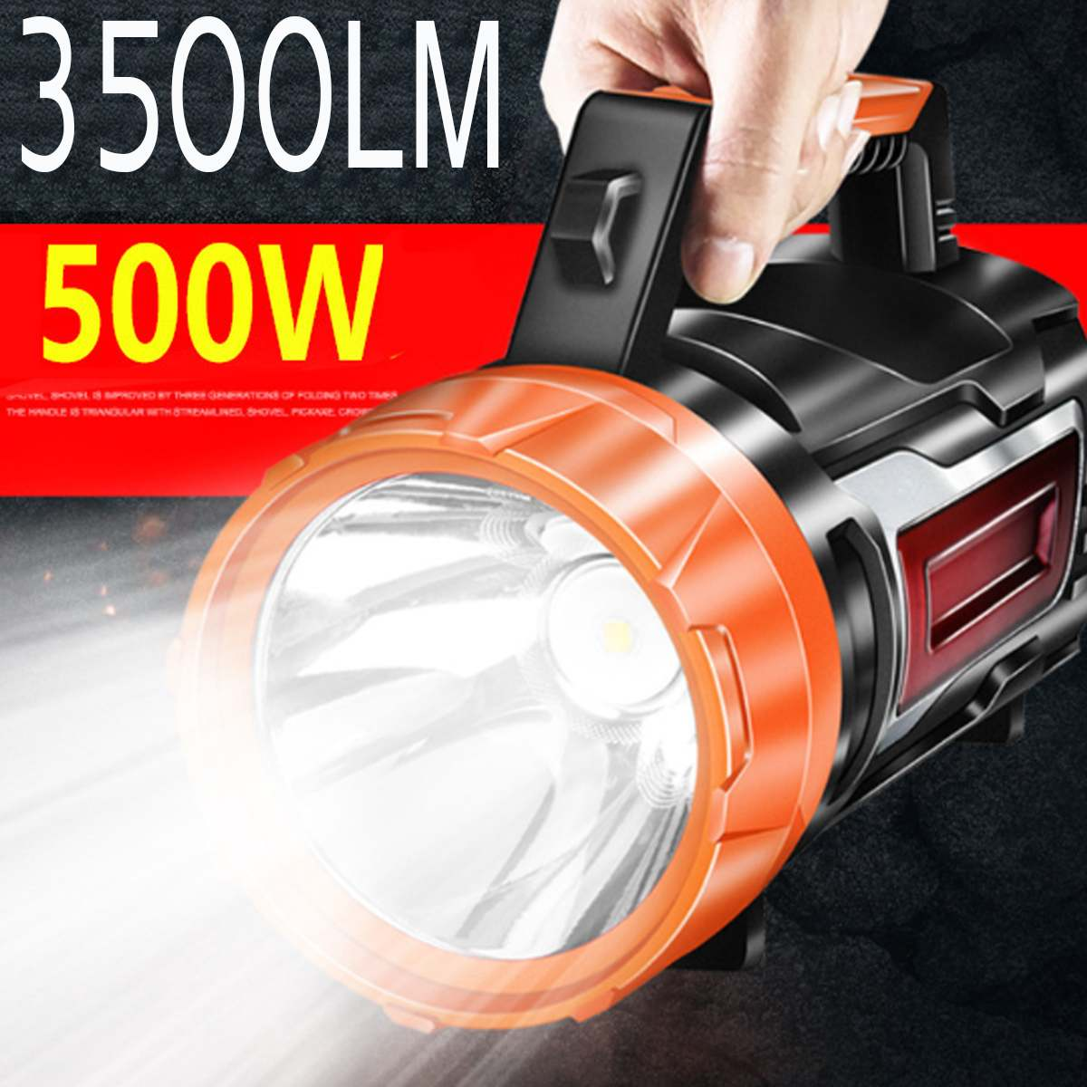 500W Handheld Spotlight Portable USB Rechargeable LED Searchlight Lantern Flashlight Waterproof Spot Lamp For Camping Hunting