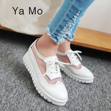 New 2017 spring summer oxford shoes for women lace-up designer women loafers red black casual shoes white flats platform shoes
