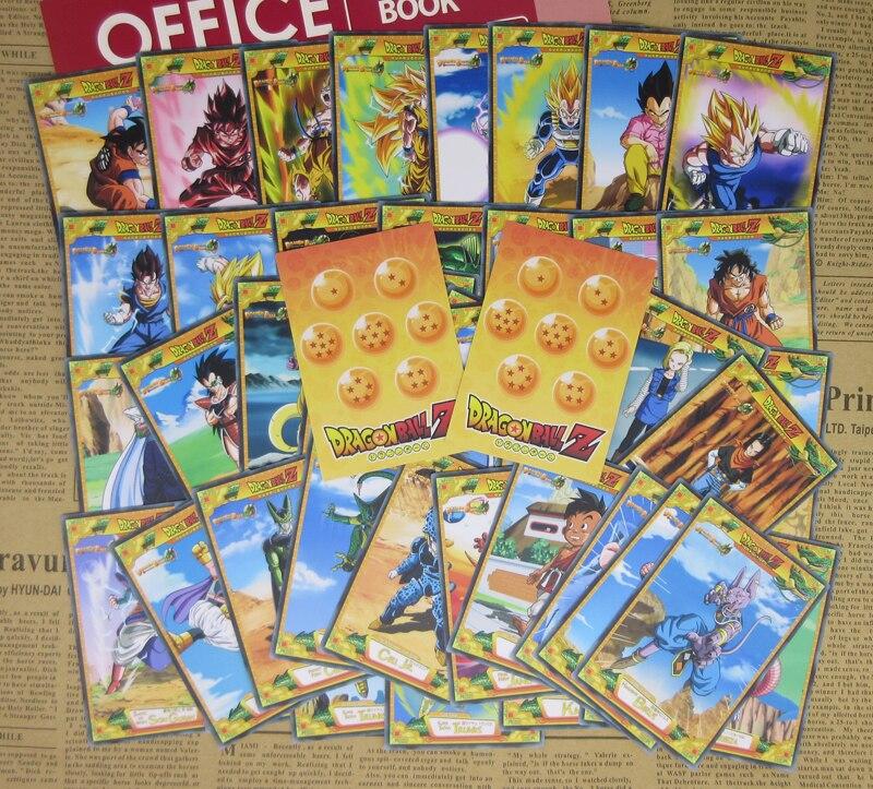 48 piezas de Dragon Ball Z personaje de Anime tarjetas Gokuh Vegeta Saiyajin freezer androides celular Majin Buu Saga clásico colección de papel tarjeta de