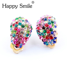 Vintage Babysbreath Gold 3 Colors Elegant Lady Lucky Colorful Crystal Rhinestone Clip On Earrings For Women Statement Jewelry(China)