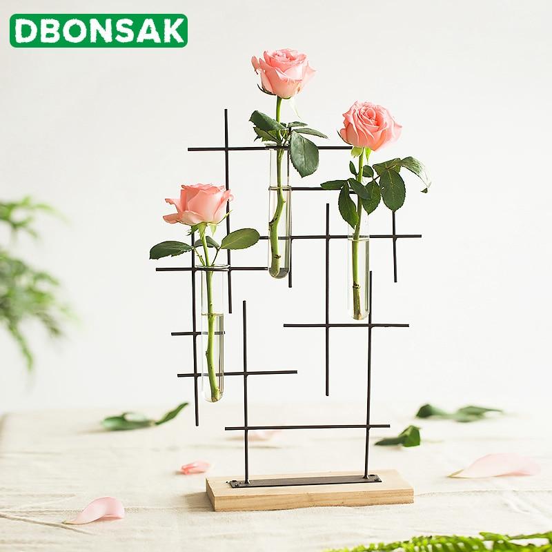 Nordic Blumentopf Eisen Kunst Eisen Reagenzglas Blume Vase Blume Anordnung Vase Glas Holz Vase Wohnzimmer Dekoration Ornamente|Blumentöpfe & Pflanzkübel|   -