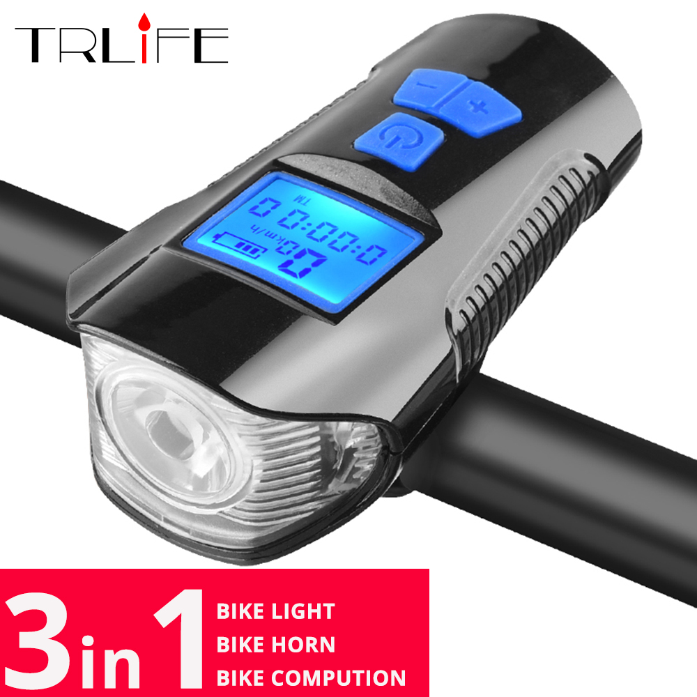 3 in1 Waterproof Bicycle Light USB Charging Bike Front Light Flashlight Handlebar Cycling Head Light Horn Speed Meter LCD Screen