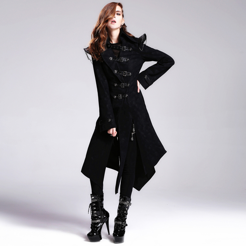 2017 new Steampunk Goth GOTHIC Skull Black Leather Jacket costume buckle Changfeng