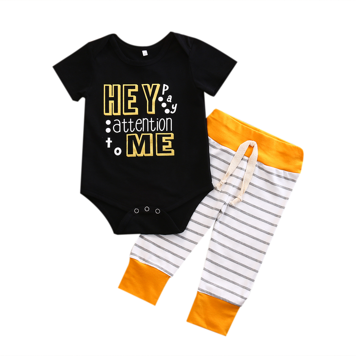 2PCS Newborn Baby Boys Letter Printed Romper Tops + Striped Pants Outfits Clothes Set