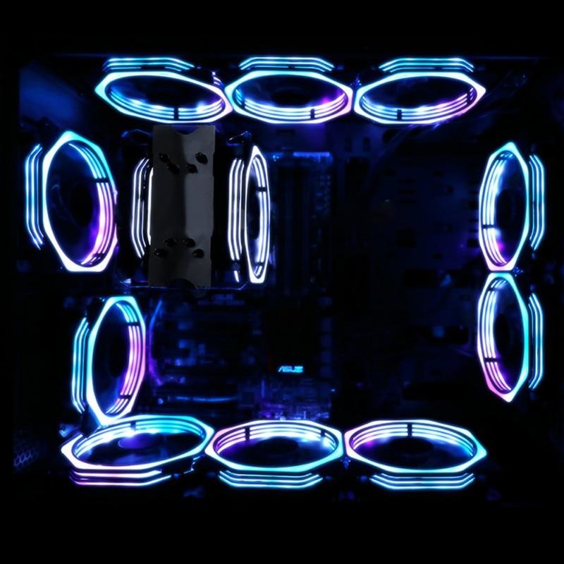 טלויזיות פלזמה LCD נגד רעידות צבעוניות שקט גומי 4pin 12 סנטימטרים קירור השקט Ultra 16db Led Light מאוורר 15 Cooler Heatsink מאוורר נוריות Case (2)