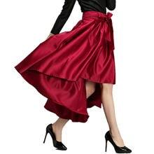 bc4fb710bdb5 2017 Spring Retro Red Long Bows Maxi Skirt Irregular Dovetail Skirt Bowknot  High Waist Black Pleated Bandage Skirts Women Saia