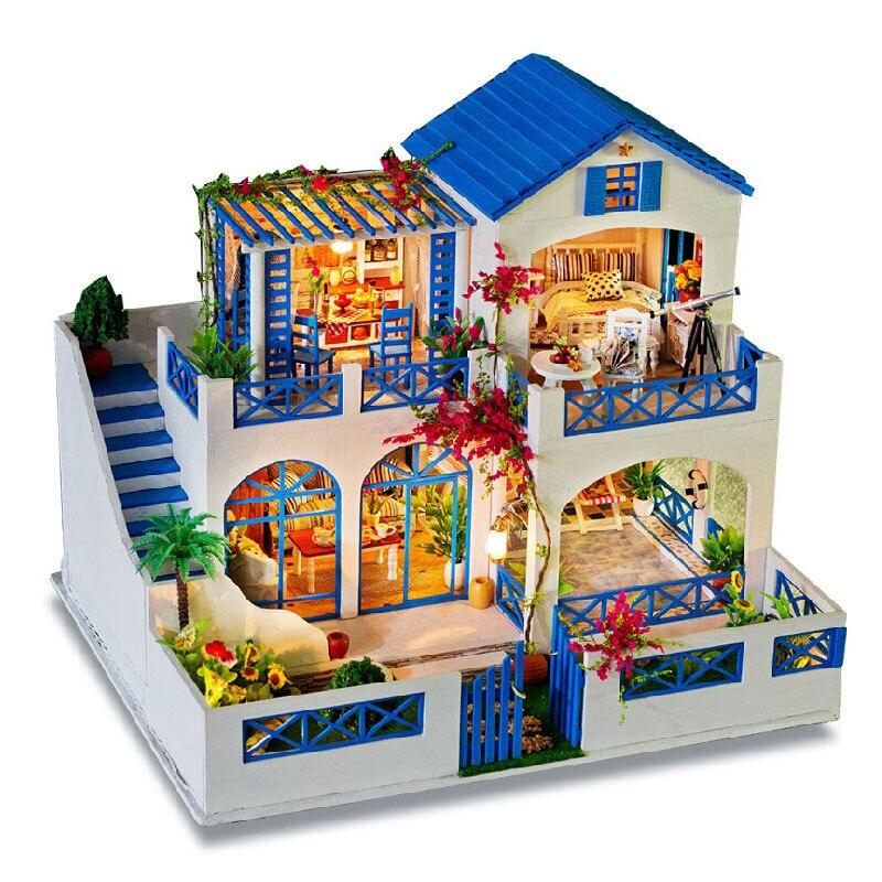 Bricolage 3D poupées en bois fait main modèle construction Kits maison de poupée en bois Puzzle Toy Dollhouse Miniature avec meubles cadeau d'anniversaire