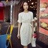Dabuwawa White Dress Summer 2017 New Fashion Temperament Casual Ol Slim Bow Office Dresses Women Pink
