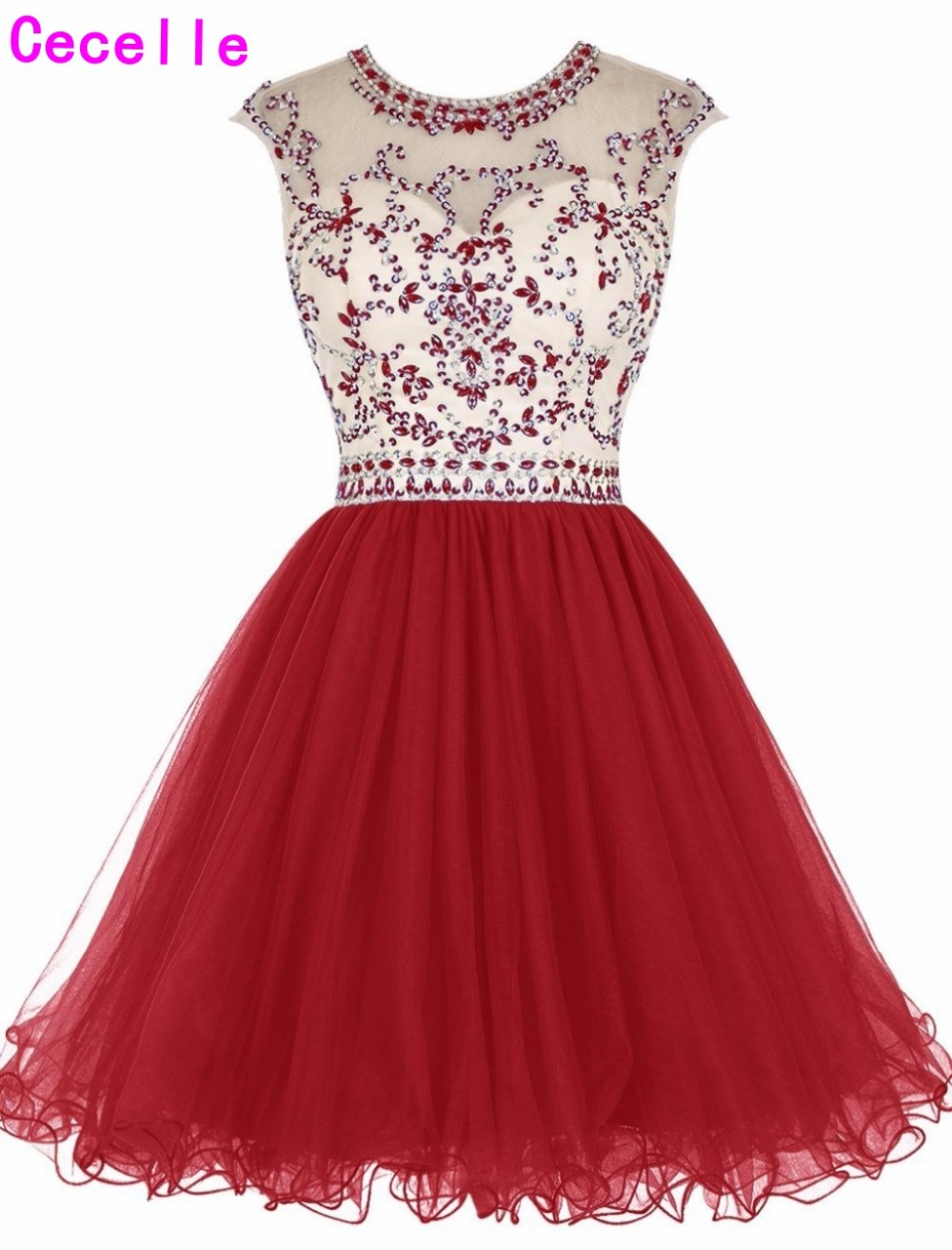 Real Sexy Open Back Red A-line Short   Cocktail     Dresses   Sleeveless Sparkly Beaded Crystals Backless Girls   Cocktail   Party   Dresses